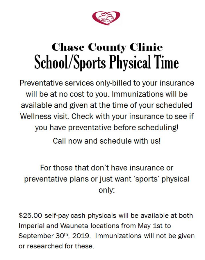 School Physicals - Chase County Community Hospital